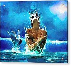 Mermaid Under The Moonlight Acrylic Print