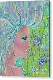 Mermaid Warrior Acrylic Print by Renee Lavoie