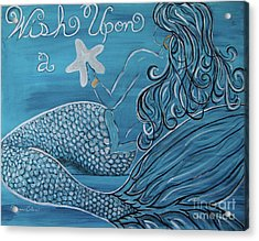 Mermaid- Wish Upon A Starfish Acrylic Print by Megan Cohen