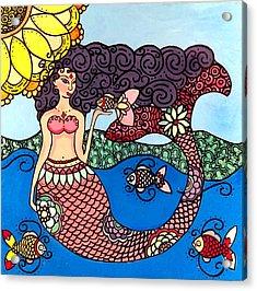 Mermaid With Fish Acrylic Print