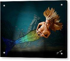 Mermaid With Golden Ball Acrylic Print