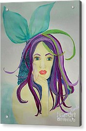 Mermaid With Mardis Gras Hair Acrylic Print by ARTography by Pamela Smale Williams