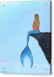Acrylic Print featuring the painting Mermaids Bundle To Be by Leslie Allen