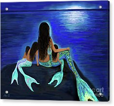 Acrylic Print featuring the painting Mermaids Fun Bunch by Leslie Allen