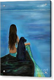 Acrylic Print featuring the painting Mermaids Loyal Bud by Leslie Allen