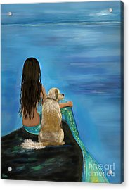 Acrylic Print featuring the painting Mermaids Loyal Buddy by Leslie Allen