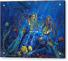 Acrylic Print featuring the painting Mermaids Of Acqualainia by Steve Roberts