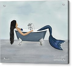 Acrylic Print featuring the painting Mermaids Relaxing Retreat by Leslie Allen