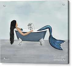 Acrylic Print featuring the painting Mermaids Relaxing Room by Leslie Allen