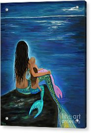 Acrylic Print featuring the painting Mermaids Sweet Little Girls by Leslie Allen