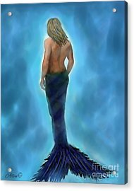 Acrylic Print featuring the painting Merman Majestic by Leslie Allen