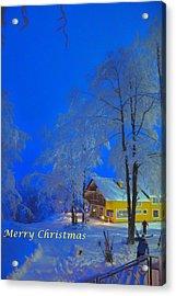 Merry Christmas Cabin Digital Art Acrylic Print