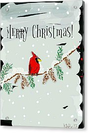 Merry Christmas Cardinal Acrylic Print
