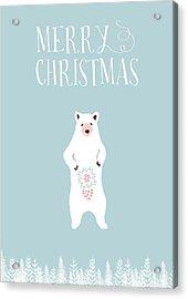 Merry Christmas Funky Bear Acrylic Print