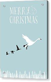 Merry Christmas Funky Geese Acrylic Print