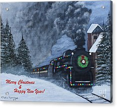 Merry Christmas Train Acrylic Print