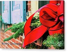 Merry Christmas Window Bow Acrylic Print