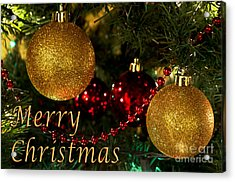 Merry Christmas With Gold Ball Ornaments Acrylic Print