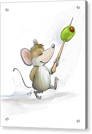 Merry Mouse Moe With Olive Acrylic Print