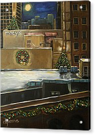 Merry Rooftops Acrylic Print by Dyanne Parker