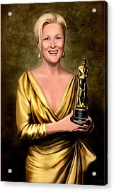 Meryl Streep Winner Acrylic Print by Jann Paxton