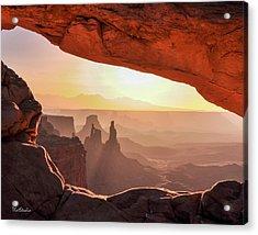 Mesa Arch At Sunrise, Washer Woman Formation , Canyonlands National Park, Utah Acrylic Print
