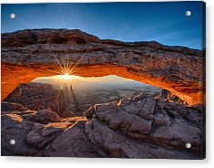 View Through The Mesa Arch At  Sunrise Acrylic Print
