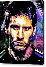 Acrylic Print featuring the mixed media Messi by Svelby Art