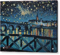 Mestreechter Staarenach Staryy Night Maastricht Acrylic Print by Nop Briex