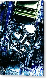 Metal Anonymous Mask On Motherboard Acrylic Print by Jorgo Photography - Wall Art Gallery