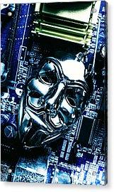 Metal Anonymous Mask On Motherboard Acrylic Print