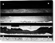 Metal Beams Of Broken Paint Monochrome Acrylic Print