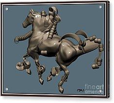 metal horse statue 40MHS1 Acrylic Print by Pemaro