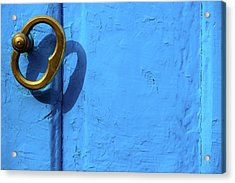 Acrylic Print featuring the photograph Metal Knob Blue Door by Prakash Ghai