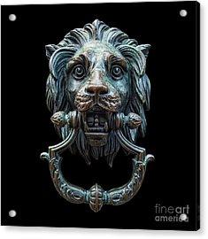 Acrylic Print featuring the photograph Metal Lion Head Doorknocker Isolated Black by Antony McAulay