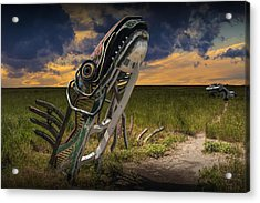 Metal Monster Emerging From The Earth Acrylic Print by Randall Nyhof