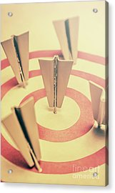 Metal Paper Planes In Target, Business Aims Acrylic Print by Jorgo Photography - Wall Art Gallery