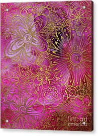 Metallic Gold And Pink Floral Pattern Design Golden Explosion By Megan Duncanson Acrylic Print