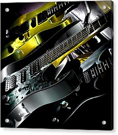 Metallic Guitars Acrylic Print by David Patterson