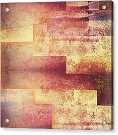 Metallic Red Gold Abstract Acrylic Print by Brandi Fitzgerald