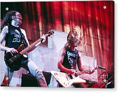 Metallica 1986 Cliff And James Acrylic Print by Chris Walter