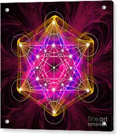 Metatron's Cube With Flower Of Life Acrylic Print