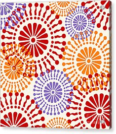 Metro Retro Circle Pattern Warm Acrylic Print by Mindy Sommers