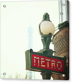 Metro Sing Paris Acrylic Print by Gabriela D Costa