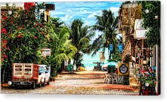 Mexican Side Street Acrylic Print by Gina Cormier
