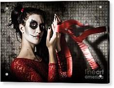 Mexico Sugar Skull Girl Performing Death Dance Acrylic Print by Jorgo Photography - Wall Art Gallery