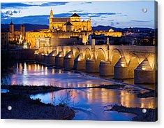 Cathedral Mosque And Roman Bridge In Cordoba Acrylic Print