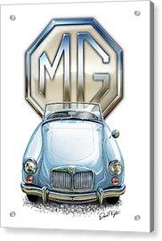 Mga Sports Car In Light Blue Acrylic Print by David Kyte