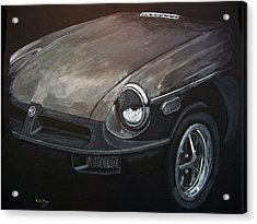 Acrylic Print featuring the painting Mgb Rubber Bumper Front by Richard Le Page