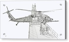 Mh-60 At Work Acrylic Print by Nicholas Linehan
